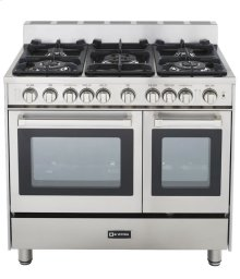 """36"""" Gas Double Oven Range Stainless Steel 4"""" B/G"""