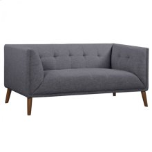 Armen Living Hudson Mid-Century Button-Tufted Loveseat in Dark Gray Linen and Walnut Legs