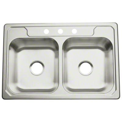 "Middleton™ Double-basin Kitchen Sink, 33"" x 22"" x 8"""