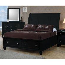Sandy Beach Black Queen Sleigh Bed With Footboard Storage