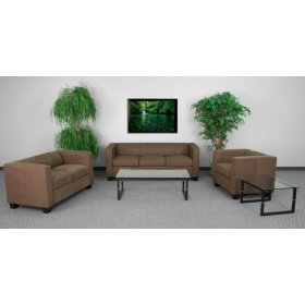 Prestige Series Living Room Set in Chocolate Brown Microfiber with Coffee and End Table