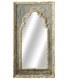 Distressed Blue Arch Wall Mirror with Gold Brush.