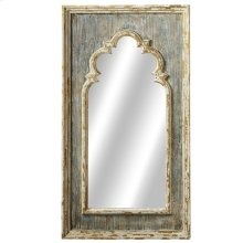 Distressed Blue Arch Wall Mirror with Gold Brush