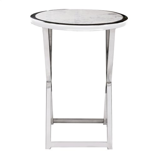 Polished Steel Accent Table with Marble Top