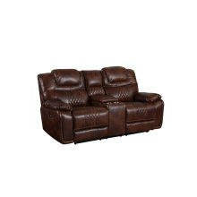 ZY5018A Collection  Power Dual Reclining Loveseat  Center Console with Cup Holders Brown Leather Gel