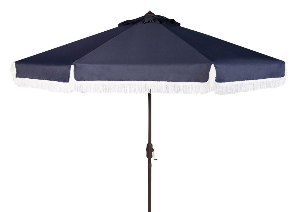 Milan Fringe 9ft Crank Outdoor Auto Tilt Umbrella - Navy / White