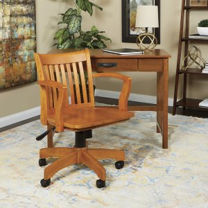 Office StarDeluxe Wood Banker's Chair With Wood Seat In Fruit Wood Finish