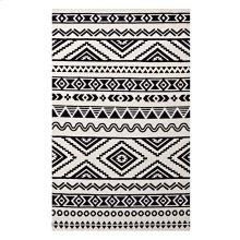 Haku Geometric Moroccan Tribal 5x8 Area Rug in Black and White