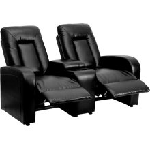 Eclipse Series 2-Seat Reclining Black Leather Theater Seating Unit with Cup Holders