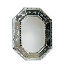 Hand Cut and Etched Shaped Venetian Glass Mirror Frame, Beveled Mirror