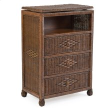 Wicker 3 Drawer Swivel TV Chest Coffee Bean 3733