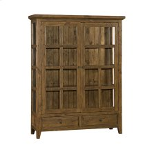 Tuscan Retreat® Display Cabinet 2 Doors 2 Drawers With Clear Glass - Antique Pine