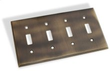 Quad Toggle Square Bevel Switch Plate - Antique Brass