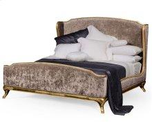 Cali King Louis XV Gilded Bed, Upholstered in Truffle Velvet