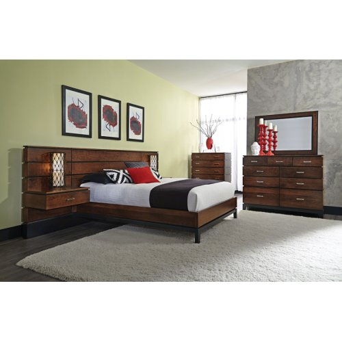 "Frisco Panel Bed with 18"" Attached Nightstands, Frisco Panel Bed with 18"" Attached Nightstands, California King"