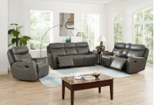ROXBURY Power Dual Recliner Console Loveseat-GRAY
