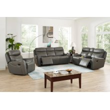 ROXBURY Dual Recliner Console Loveseat-GRAY