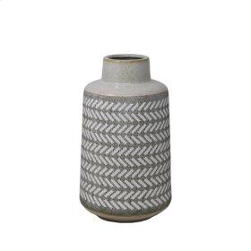 "Gray/white Etched Vase 11.75"""