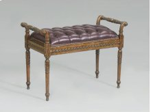 Hand Carved Cognac Oak Finished Bench, Antique Brown Leather Button Upholstery