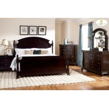 CAL KING PANEL BED, DARK CHERRY