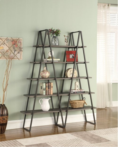 "Emerald Home Atari Bookshelf 60"" W/2 Racks Metal Frame, Antique Grey Shelves Ac350-60"