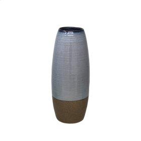 """Ceramic 14.5"""" Vase, Lt. Blue/brown"""