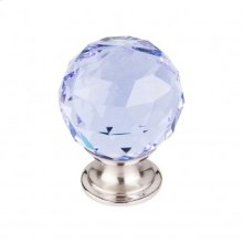 Light Blue Crystal Knob 1 3/8 Inch - Brushed Satin Nickel