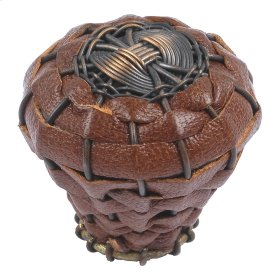 Hamptons Saddle Leather Knob 1 1/2 Inch - Aged Bronze