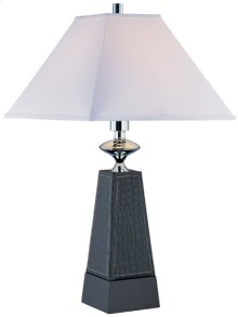 Table Lamp, Faux Leather Body/off-white Fabric, E27 Cfl 23w