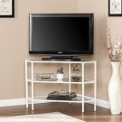 Niles Metal/Glass Corner TV Stand - White Product Image