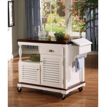 Traditional White Kitchen Cart