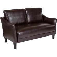 Asti Upholstered Living Room Loveseat in Brown Leather