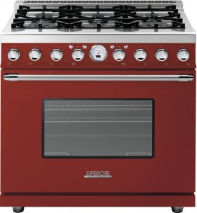 Range DECO 36'' Classic Red matte, Chrome 6 gas, electric oven, self-clean
