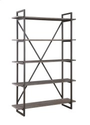 "Emerald Home Atari Bookshelf 48"" W/5 Shelves Black Frame, Brown Shelves Ac330-48 Product Image"