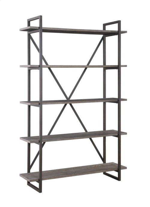 "Emerald Home Atari Bookshelf 48"" W/5 Shelves Black Frame, Brown Shelves Ac330-48"