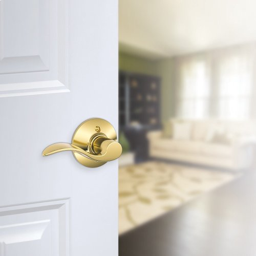 Accent Lever Non-turning Lock - Bright Brass