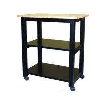 Microwave Cart in Black & Natural Product Image