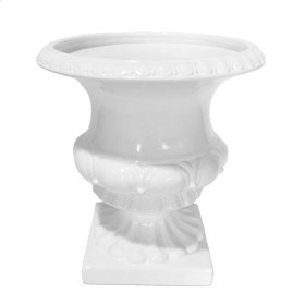 "White Footed Ceramic Urn 15.75"""