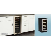 "CLOSEOUT ITEM : 15"" Standard Efficiency Single Zone Wine Cellar - Stainless Frame Glass Door - Left Hinge"