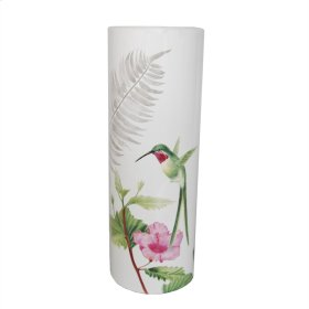 White Hummingbird Vase 16""
