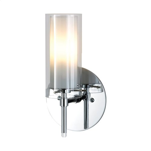 Tubolaire 1-Light Wall Lamp in Chrome with Clear Outer Glass and Frosted Interior