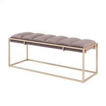 Brooklyn Velvet Fabric Bench Champagne Frame, Serene Dark Gray