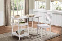 Writing Desk and Chair, White Table: 47.25 x 23.5 x 29.75H Chair: 17.25 x 18 x 37H