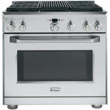 """GE Monogram® 36"""" All Gas Professional Range with 4 Burners and Grill (Liquid Propane)"""