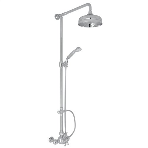 Polished Chrome Arcana Exposed Wall Mount Thermostatic Shower With Volume Control with Arcana Series Only Cross Handle