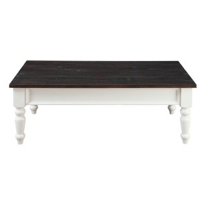 Emerald Home Mountain Retreat 2 Drawer Cocktail Table Antique White Base W/brown Rustic Plank Top T6013