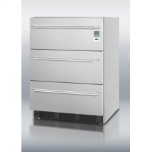 ADA Compliant Commercial 3-drawer Refrigerator In Stainless Steel for Built-in Use, With Temperature Alarm, Hospital Grade Cord, Internal Fan, and Tb Handles