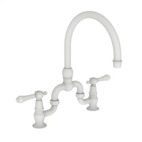 Matte White Kitchen Bridge Faucet