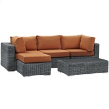 Summon 5 Piece Outdoor Patio Sunbrella® Sectional Set in Canvas Tuscan