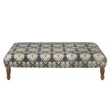 Rectangular Upholstered Ottoman in Shibori Grey Pattern